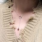 Cat Lariat Necklace Silver - One Size