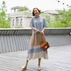 Color-block Pleated Mock Two-piece Dress