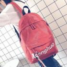 Faux Leather Lettering Tasseled Backpack