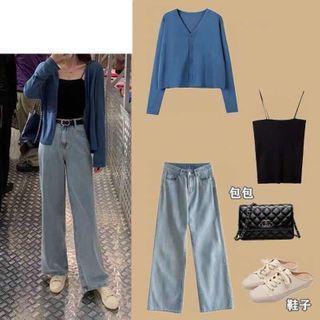 Set: Cardigan + Camisole + Denim Pants