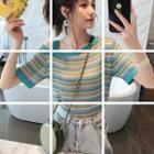 Short-sleeve Asymmetric Cold Shoulder Striped Knit Top