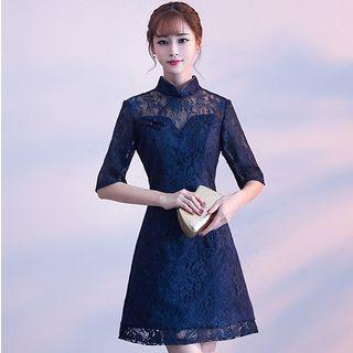 Elbow-sleeve Traditional Chinese Lace Short Prom Dress