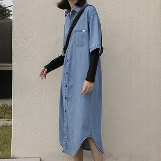 Elbow-sleeve Midi Denim Shirtdress