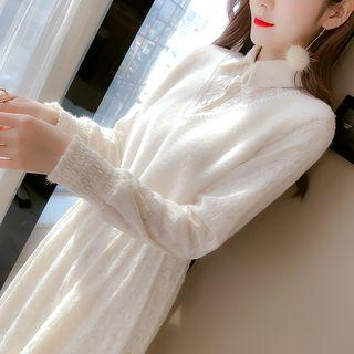 Long-sleeve Panel Midi A-line Lace Dress