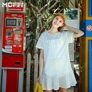 Perforated Ruffle Trim Short-sleeve Dress