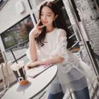 Elbow-sleeve Lace Panel Ruffle Top
