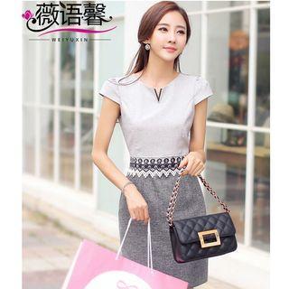 Short-sleeve Lace Trim Sheath Dress