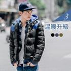 Colorblocked Hooded Down Jacket