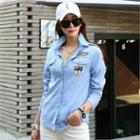 Appliqu  Dual-pocket Denim Shirt