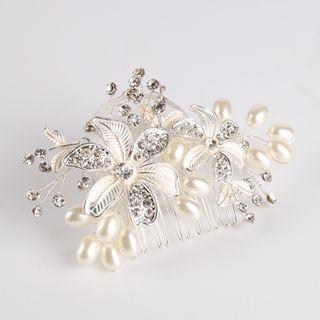 Bridal Rhinestone Flower Hair Comb Clip White - One Size