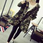 Knit-sleeve Camouflage Hooded Coat