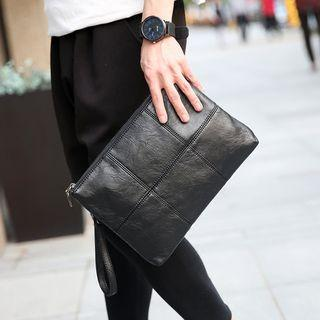 Faux Leather Panel Clutch
