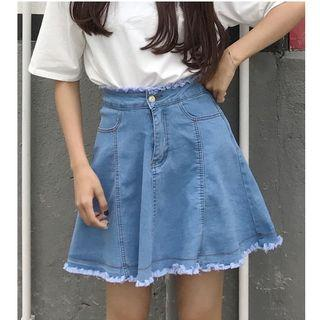 Fray Hem Flared Denim Skirt