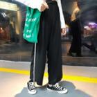 Contrast Trim Straight Cut Pants Black - One Size