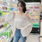 Crochet-knit Long-sleeve Top