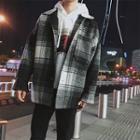 Plaid Woolen Button Coat
