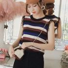 Sleeveless Fringed Striped Knit Top