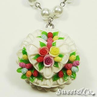 White Double Layer Color Rose Cake Pearl Necklace