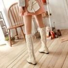 Crochet Lace Hidden Wedge Tall Boots