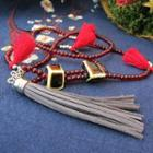 Ceramic Cube Tassel Necklace Cube - Red - One Size