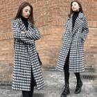 Checked Midi Open Front Coat