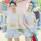 Set: Short-sleeve Crochet Top + Printed Bikini Top + Swim Skirt
