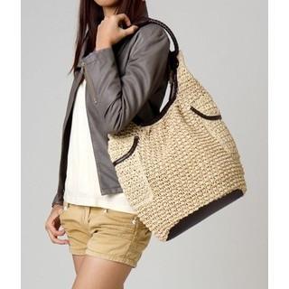 Woven Hobo Bag Light Beige -one Size