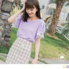 Lace Trim Short-sleeve Round Neck Top