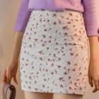 Flower Pattern H-line Mini Skirt