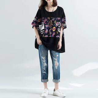 Short-sleeve Panel Loose-fit Top As Shown In Figure - One Size