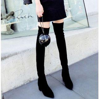 Pointed Block Over-the-knee Boots