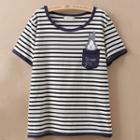 Short-sleeve Rabbit Applique Striped T-shirt