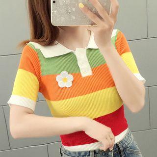 Flower Applique Short-sleeve Polo Knit Top