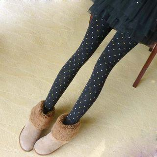 Heart Print Stirrup Tights