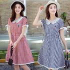 Ice Cream Embroidered Gingham Short Sleeve Dress