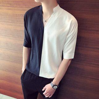 Short-sleeve Two-tone Shirt