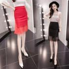 Mesh Panel Sheath Skirt