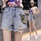 Sequined Cat Ripped Denim Shorts
