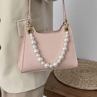 Faux Pearl Faux Leather Handbag
