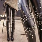 Faux Leather Studded Leggings
