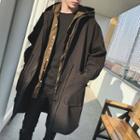 Plain Hooded Drawstring Long Jacket