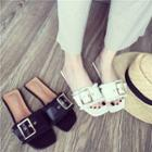 Fringed Faux-leather Flat Slide Sandals