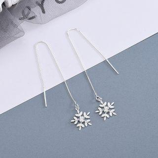 925 Sterling Silver Leaf Dangle Earring 1 Pair - Es1029 - Silver - One Size