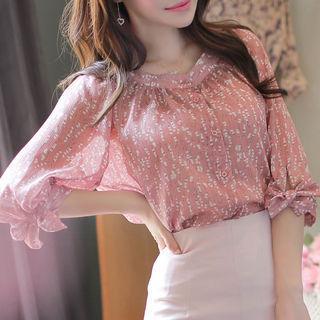 Beribboned Raglan-sleeve Floral Blouse Pink - One Size