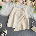 Plain Asymmetric-hem Mini Skirt