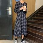 Long-sleeve Plaid V-neck Midi Dress