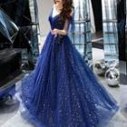 Cold-shoulder Mesh A-line Evening Gown