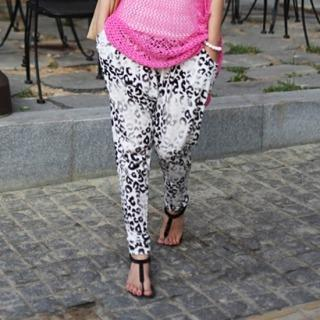 Leopard-print Harem Pants