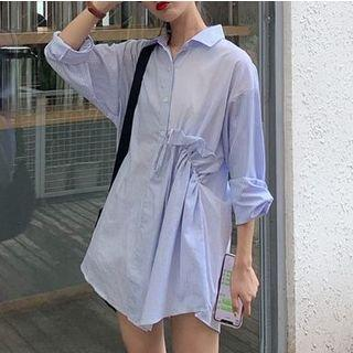 3/4-sleeve Asymmetric Striped Mini Shirt Dress As Shown In Figure - One Size
