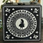 Printed Box Hand Bag With Strap Black - One Size